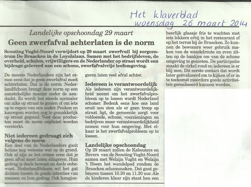 Het Klaverblad - woensdag 26 maart 2014 - Zwerfvuilactie 2014